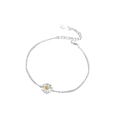 - VANA JEWELRY Sterling Silver Bracelets for Women Butterfly Bracelet Diamond Gold Open Bangle 925 Jewelry Girls Link Charms Blue Dainty Pig Zodiac Queen Crown Dolphin Crystal Gift (Daisy Bracelets)