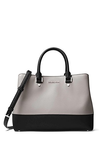 MICHAEL Michael Kors Savannah Large Satchel (Pearl Grey/Black) by Michael Kors