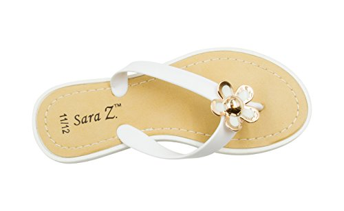 Girl 2 Ornament - Sara Z Girls Thong Sandals with Gold and Enamel Blossom White Size 2/3