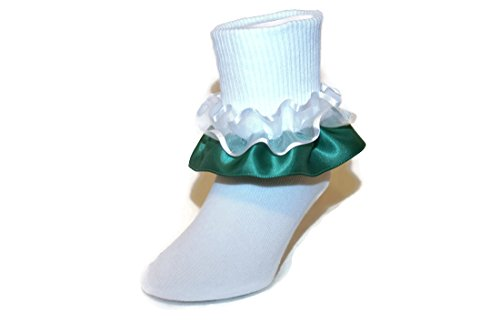Girls Ruffle Ankle Socks with Satin & Organza in Assorted Colors (5-6.5 Toddler, Emerald Green) (Organza Ruffle Socks)