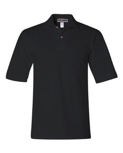 Jerzees mens 6.5 oz. Ringspun Cotton Pique Polo(440)-BLACK-4XL