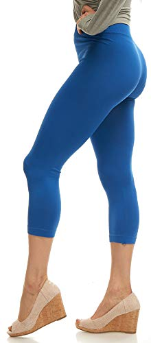 - Lush Moda Seamless Capri Length Basic Cropped Legging - Variety of Colors - Royal Blue OS