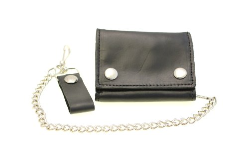 Men's Large Trifold Biker Wallet With A Chain Oil Tanned Leather Made In USA (Logo Leather Chain Wallet)