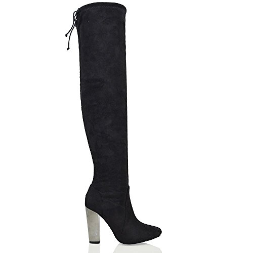 New Stretch Lace Booty - ESSEX GLAM Women's Black Faux Suede Over The Knee Chrome Heel Lace Stretch Boots 6 B(M) US