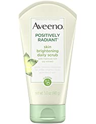 Aveeno Positively Radiant Skin Brightening Exfoliating Daily Facial Scrub, Moisture-Rich Soy Extract, Soap-Free, Hypoallergenic & Non-Comedogenic Face Cleanser, 5 oz