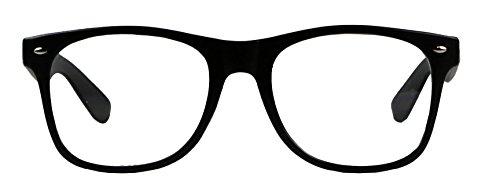 Basik Eyewear - Clear Lens Nerd Geek 80s Style Wayfarer Retro Frame Rx Eye Glasses