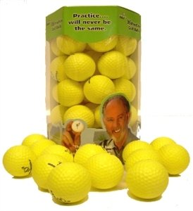 Practice golf balls for golf training. Made by AlmostGolf. Feel solid contact for great feedback. Limited flight for backyard use. Safe for indoors. A golfer must have (36 Pack Yellow with 5 Tees)