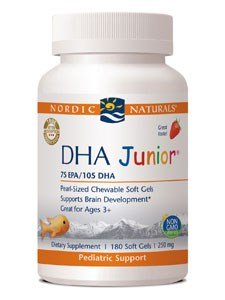 (Nordic Naturals Pro DHA Junior - Wild Arctic Cod Liver Oil, 80 mg EPA, 120 mg DHA, Support for Healthy Neurological, Nervous System, Eye, and Immune System Development*, 180 Chewable Soft Gels)