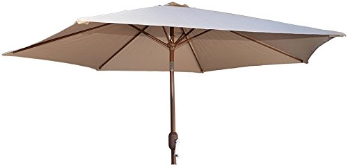 "KoKoMo Grills 9' Beige Crank Umbrella - 9' Span Crank Open System 1-1/2"" Steel Pole - shades-parasols, patio-furniture, patio - 31RQrGDYh5L -"