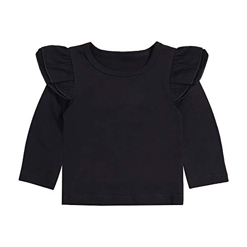 Girl Top 6 12 24 Months Clothes Basic Black Plain Ruffle Tee Long Sleeve T-Shirts Blouse Clothes 2-3T ()