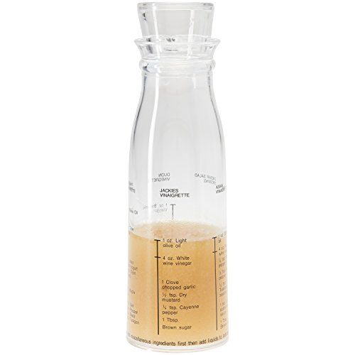 Salad Dressing Bottle - Salad Dressing Container - Shaker - All-in-One Salad Dressing Mix - With Recipes - Clear Acrylic Mixing Bottle