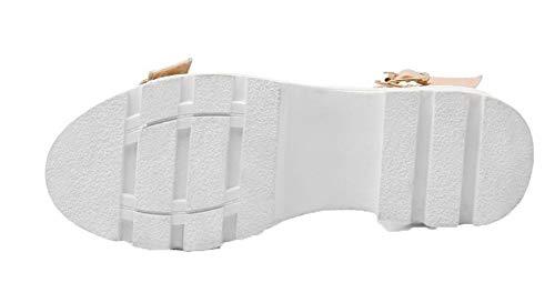 Ouverture Boucle Unie Couleur d'orteil AalarDom Bas TSFLH007050 Talon Sandales à Rose Femme nU0SnpqAF