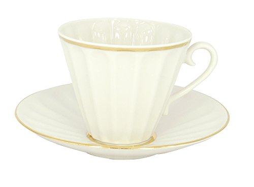 Lomonosov Porcelain Set 2pc Cup and Saucer Radiant Snow White 7.95 oz/235 ml