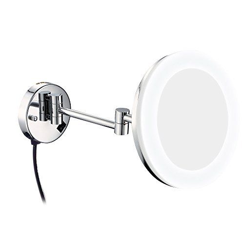 GURUN 8 Inch Wall Mounted Makeup Mirror With LED Light,7x Magnification,Chrome Finish, Plug M1806D(8in,7x)