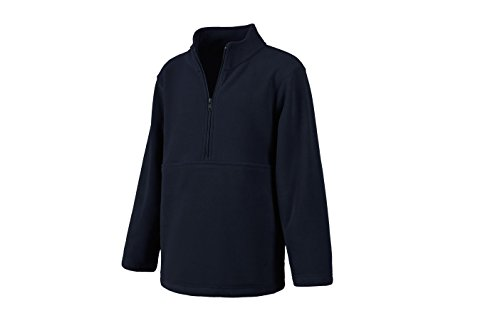 (Classroom School Uniforms Kids' Big Unisex Half-Zip Polar Fleece Pullover, Dark Navy L)