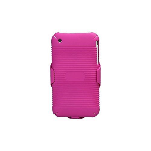 MYBAT IPHONE3GHBHOLSFTTR12NP Shell Holster Combo Case for Samsung Galaxy with Kick-Stand and Belt Clip for Apple iPhone 3GS/3G - Retail Packaging - Hot Pink ()
