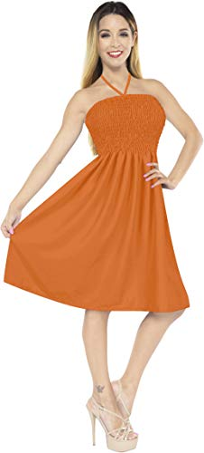LA LEELA Rayon Solid Top Lounge Length Knee Tube Dress Dark Orange 2046 One Size