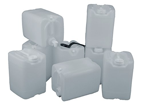 (5 Gallon Samson Stackers, Natural, 8 Pack (40 Gallons), Emergency Water Storage Kit with One Spigot and Cap Wrench)