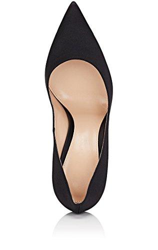 Escarpins Sexy De Femme Mariee Bout EDEFS Aiguilles Talon Satin en Mariage Noir Fermé Chaussures dxwvZ