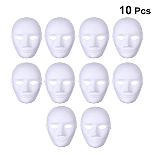 YeahiBaby Blank Full Face Mask DIY Mask to Painting Carnival Party Ghost Cosplay Masquerade Party Masks 10pcs (Male Face)