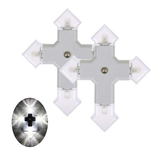 jiangjia Cross LED Night Light Four Arrow Lamp with Dusk to Dawn Sensor for Black Hallway, Kitchen, Bathroom,Black Bedroom, Stairs or Any Dark Room, Daylight White 0.24W/pc 2-Pack Warranty 3 Years