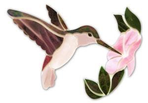 Mauve Hummingbird With Flower Premium Pre-Cut (Pre Cut Stained Glass)