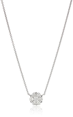 14k White Gold Diamond Flower Solitaire Pendant Necklace (1/2cttw, I-J Color, SI2-I1 Clarity), 16