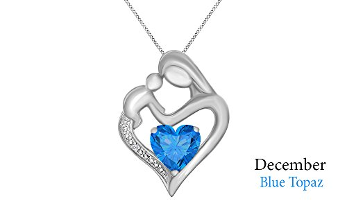 Simulated Blue Topaz & White Natural Diamond Accent Mother & Child Heart Pendant in 14k White Gold Over Sterling Silver (11/10 Cttw)