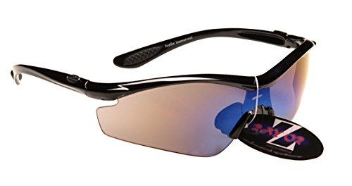 Rayzor professionnel léger UV400 Noir Sport Wrap cricket Lunettes de soleil, Avec un 1 pièce bleue fumé antireflet Lens.