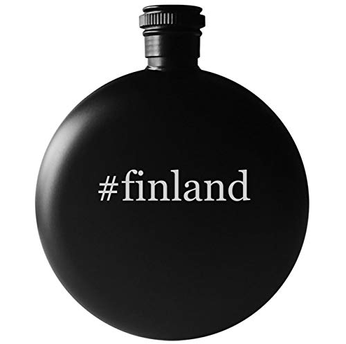 #finland - 5oz Round Hashtag Drinking Alcohol Flask, Matte Black (Round Finland Of Plates Arabia)