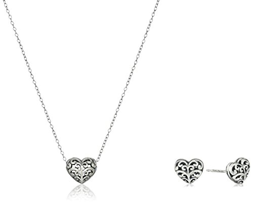 Silver Filigree Heart (Sterling Silver Oxidized Filigree Heart Earrings and Necklace Jewelry Set)