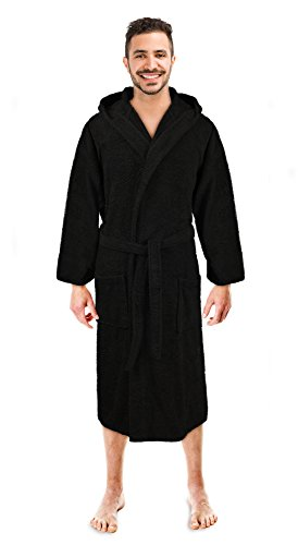 Soft Touch Linen Men's Hooded Robe, Turkish Cotton Terry Hooded Spa Bathrobe (Black, (Terry Cloth Spa Robe)