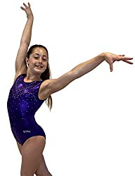 Purple Gymnastics Leotards With Rhinestones for Girls
