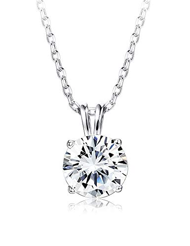 Pendant Silver Women Necklaces - Sllaiss Sets Swarovski Zirconia Sterling Silver Solitaire Pendant Necklace Women Round-Cut CZ Necklace Chain Jewelry Gift (2 cttw), 18""