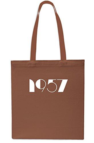 Tote Birthday Year Anniversary 42cm Beach 1957 Shopping Gym BLACK 10 Bag litres CHESTNUT x38cm wBxTCqC