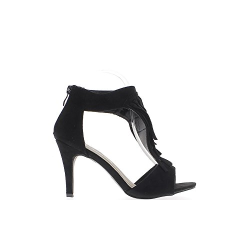 Nero sandali alla fine 9cm tacco aspetto in camoscio con frange sul piede