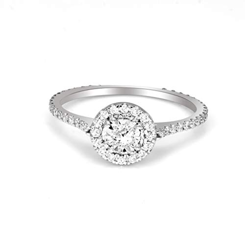 Friendly Diamonds IGI Certified 3/8 cttw Lab Grown Halo Diamond Engagement Rings For Women 10K White Gold Lab Created FG- SI1-SI2 Quality Halo Diamond Rings Real Diamond Halo Rings