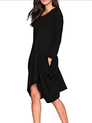 Long Sleeve Oversized Black Dresses Asymmetrical Hem Basic Coolred Women Autumn a5qxT