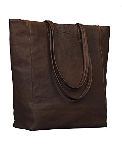 Antonio Valeria Ava, Brown Premium Leather Tote/Top handle Shoulder Bag for Women, Medium ()