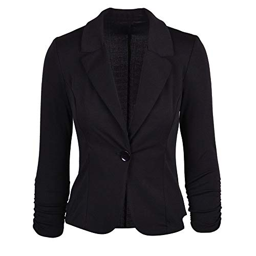 GOVOW Cotton Office Cardigan Jackets for Women - Casual Work Solid Button Slim Color Suit Coat with Shorts Pants
