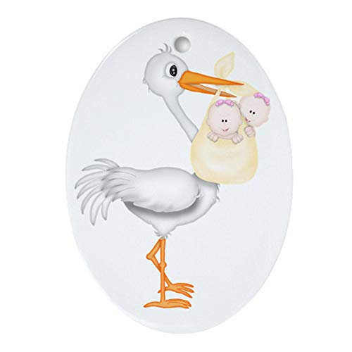 CafePress Stork with Twin Girls Oval Holiday Christmas Ornament