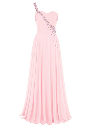 Tideclothes Long Chiffon Bridesmaid Dress One Shoulder Beading Prom Evening Dress Pink US14 - Eden Junior Bridesmaid Dress