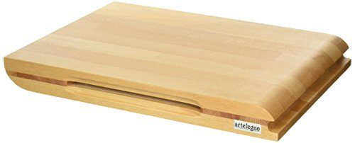 Artelegno Dual Sided Solid Beech Wood Cutting Board with Integrated Magnetic Knife Storage, Luxurious Italian Torino Collection by Master Craftsmen, Ecofriendly, Natural Finish, Large by Arte Legno