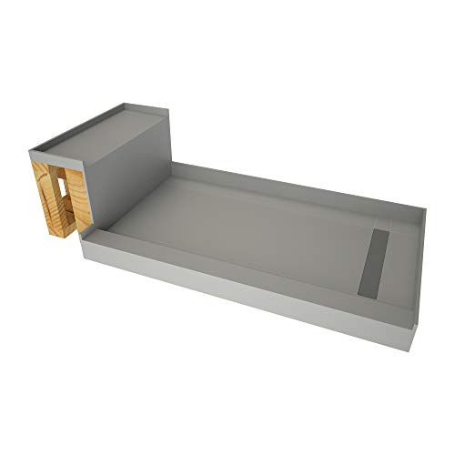 (Tile Redi USA - Base'N Bench RT3048R-BN3-RB30-KIT  Tileable Shower Pan & Seat - Flashing & Epoxy Included 60 Inches x 30 Inches Brushed Nickel)