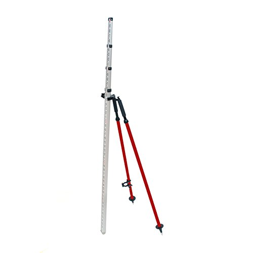 AdirPro Barcode Rod Bipod - Leveling Rod Bipod with Thumb Release Locking System (Red)
