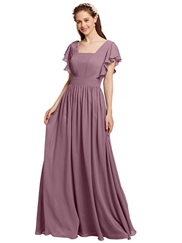AW Long Bridesmaid Dresses Chiffon Evening Dresses Butterfly Sleeves Maxi Prom Dresses, Mauve Mist, US6 (Butterfly Chiffon Evening Gown)