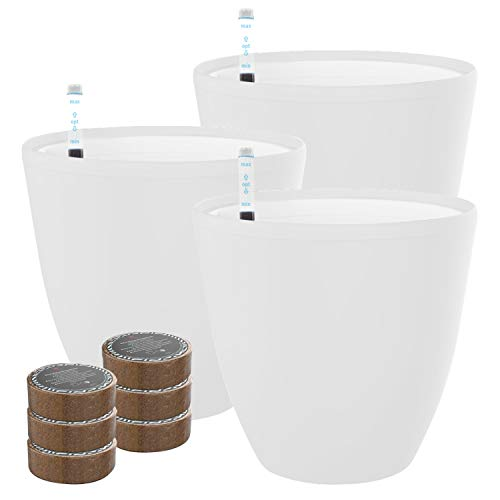 """7"""" Self Watering Planters for Indoor Plants – Flower Pot with Water Level Indicator for Plants, Grow Tracking Tool – Self Watering Planter Plant Pot – Coco Coir – White Round 3 Pack"""