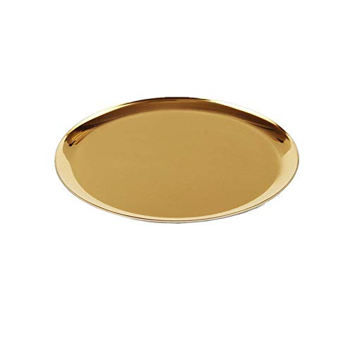 boweiwj Dinner Plates Serving Tray Stainless Steel Tray Golden Plate Cosmetics Jewelry Organizer Towel Tray Storage Tray Dish Tray Tea Tray Fruit Trays (11In Gold Round Tray) ... by boweiwj (Image #5)