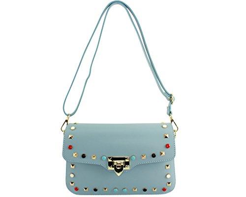 CHLOLY - Petit sac cuir femme Lola Italie Bleu Ciel