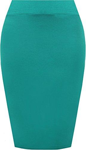 Elastique Crayon 36 42 avec Midi Taille Moulant Jupe Teal Haute Femme Jupes Tailles Lumire Uni WearAll qgUwaI